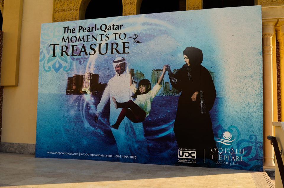 Posters featuring supposedly Qatari models at the Pearl-Qatar. Christina Paschyn, 2013