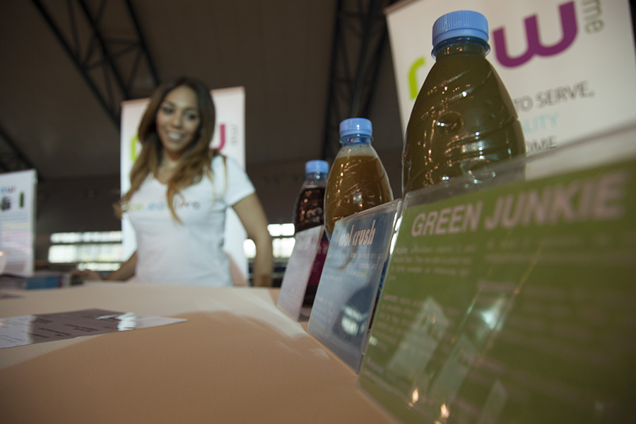 Layla Al-Dorani, founder of Raw Me, selling her juice products.